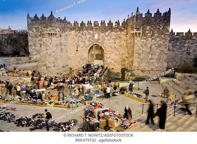 Street market at Damascus Gate in the Old City of Jerusalem