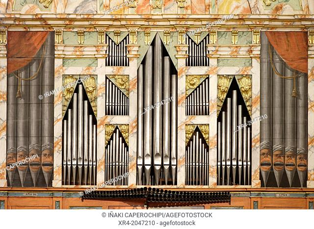 Baroque Organ of the Church of San Martin, Ataun, Goierri, Gipuzkoa, Basque Country, Spain