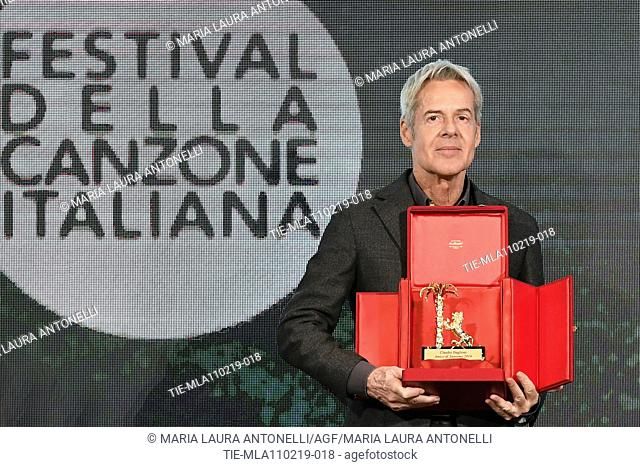 Claudio Baglioni receives the 'Amico di Sanremo ' Award (Friend of Sanremo) during the final press conference of 69th Sanremo Music Festival, Sanremo