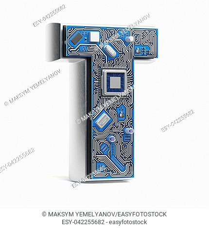 Letter T. Alphabet in circuit board style. Digital hi-tech letter isolated on white. 3d illustration