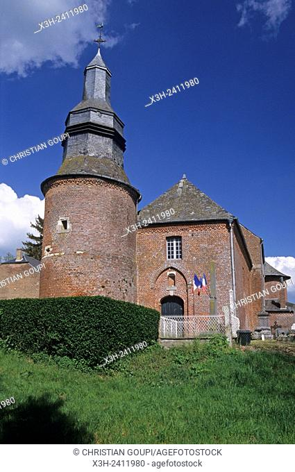Saint-Martin fortified church at Cuiry-les-Iviers in the Thierache region, Aisne department, Picardy region, northern France, Europe