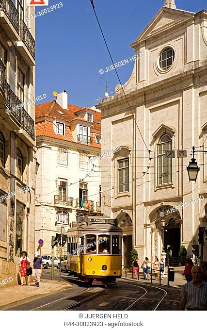 Portugal, Lisbon, Tram Electrico, Strassenbahn Baixa Chiado