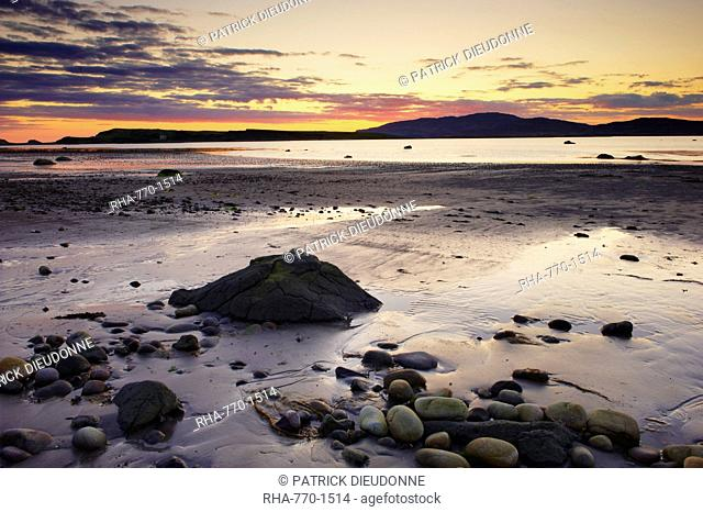 Sunset on Loch na Keal and Inch Kenneth island, Isle of Mull, Inner Hebrides, Scotland, United Kingdom, Europe