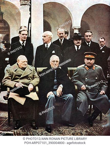 Yalta Conference of Allied leaders, 4-11 February 1945. Seated left to right: Churchill, FD Roosevelt and Stalin with their respective foreign ministers behind...