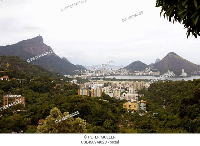 Distant view of Christ the Redeemer and Rio De Janeiro, Brazil