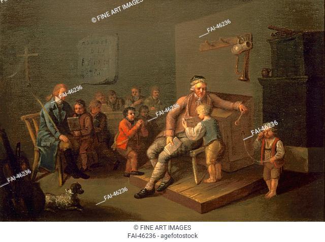 Boy primary school lesson by Anonymous /Oil on canvas/Rococo/c. 1750/Austria/Vienna Museum/Genre/Painting/Unterricht in einer Knabenvolksschule von Unbekannter...