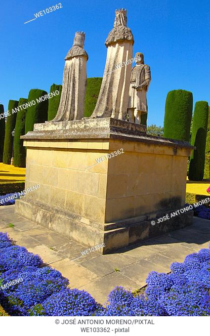 Statues of the Catholic Monarchs (Isabella and Ferdinand) meeting Christopher Columbus in the gardens of the Alcazar de los Reyes Cristianos, Cordoba, Andalusia