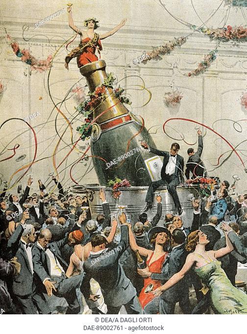 Celebrations in America to mark the end of prohibition. Illustrator Achille Beltrame (1871-1945), from La Domenica del Corriere, 1933