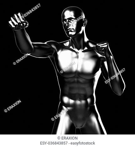 3d rendered illustration - metal fighter