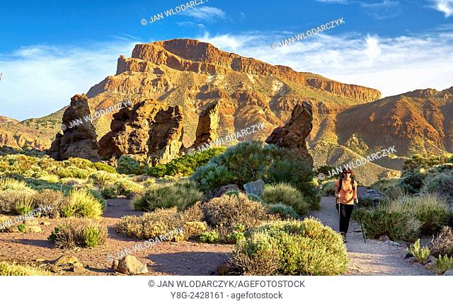 Nordic walking in Teide National Park, Tenerife, Canary Islands, Spain