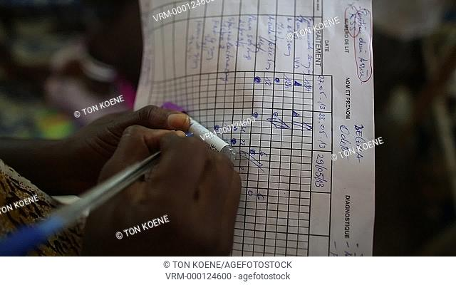 tally sheet at the hospital in Central African Republic