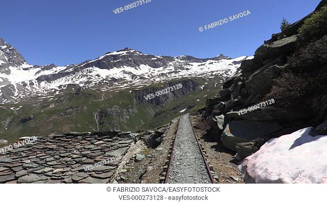 Abandoned railway overlooking Mount Cervino or Matterhorn, Aosta Valley, Italy