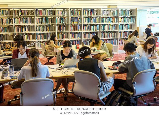 Australia, Queensland, Brisbane, South Brisbane, Cultural Centre, center, State Library of Queensland, inside, interior, Asian, woman, man, studying