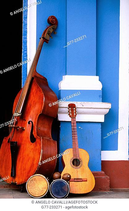Instruments in a street of Trinidad de Cuba. Cuba