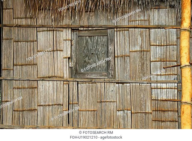 bamboo, home, woven, detail, thailand, house