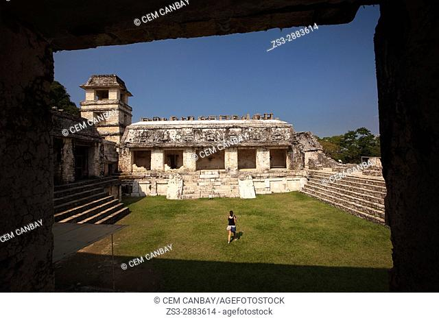 Framed view to the The Palace-El Palacio, Palenque Archaeological Site, Palenque, Chiapas State, Mexico, North America
