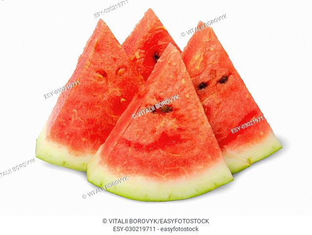 Four slices of ripe watermelon near isolated on white background