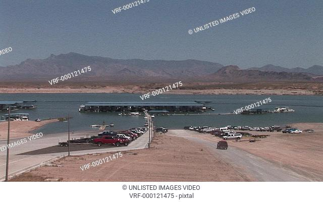 desert, deserts, mountains, landscape, landscapes, Lake Mead, Lake Mead dock