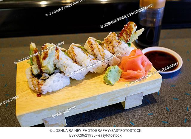 Asparagus Ahi sushi roll at a traditional Japanese cuisine restaurant in Oregon