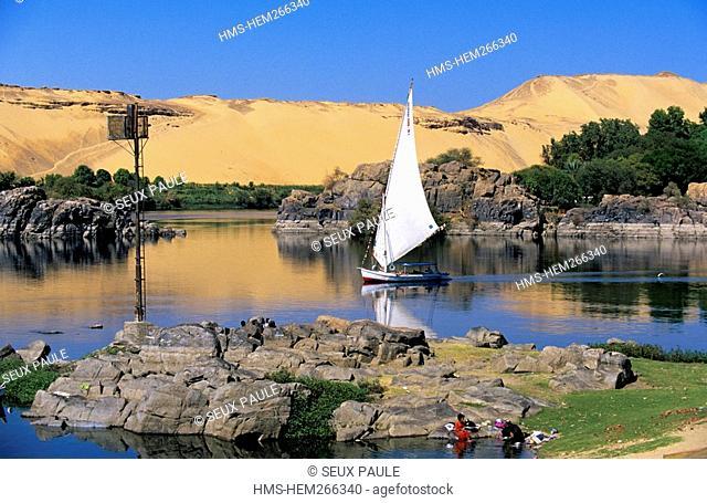 Egypt, Upper Egypt, Nile Valley, Aswan, felucca on Nile River