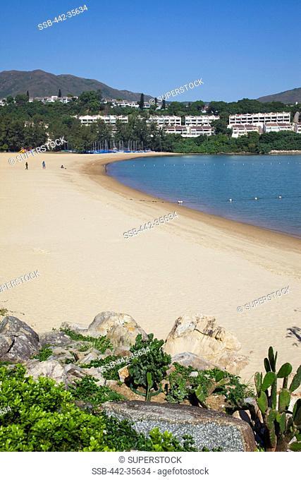 High angle view of a beach, Tai Pak Beach, Discovery Bay, Lantau, Hong Kong, China