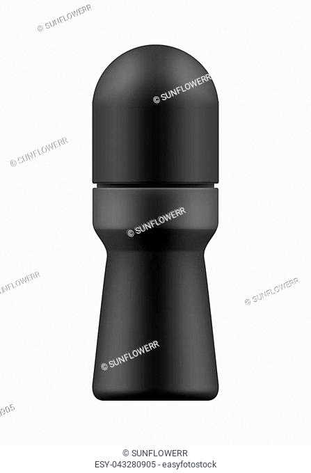 Realistic blank template of plastic bottle with roll-on body deodorant. Mock-up of package. Empty and clean 3d white plastic container