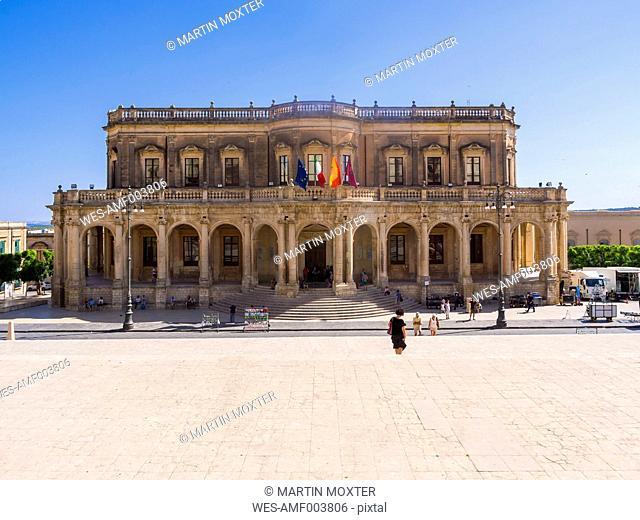 Italy, Sicily, Noto, townhall, Palazzo Ducezio