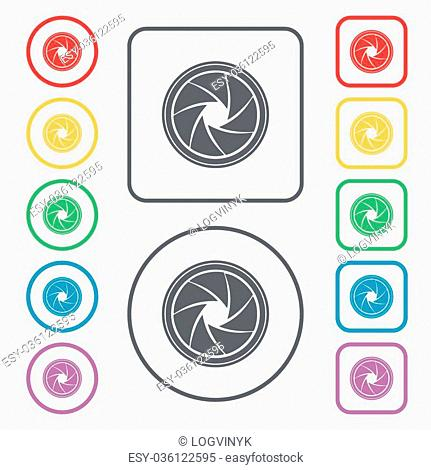 diaphragm icon. Aperture sign. Symbols on the Round and square buttons with frame. Vector illustration