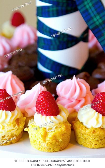 Raspberry on top of wedding reception cupcake