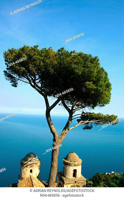 View of the Amalfi Coastline from Villa Rufolo. Ravello. Amalfi Coast. Campania. Italy