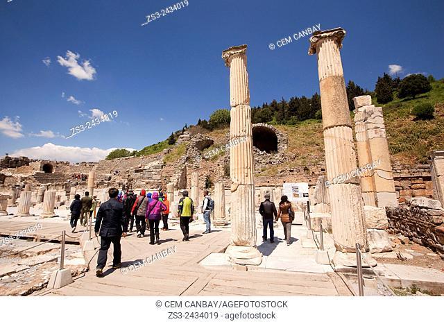 Tourists near the Council of Ephesus, at the Roman ruins of Ephesus, Efes, Selcuk, Kusadasi, Turkey, Europe