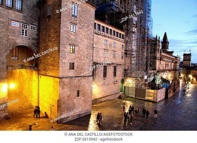 Santiago de Compostela by night Spain. Obradoiro square. Galicia Spain