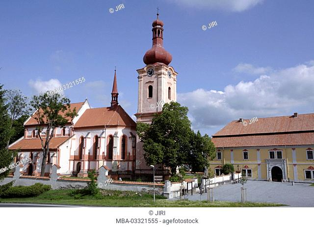 The Gothic St. Jakobuskirche on the Pschesanitzer space, town Nepomuk, west Bohemian, Czechia, Europe