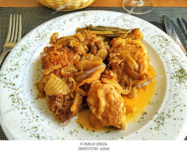 Breaded codfish with vinaigrette
