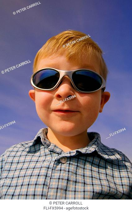 Young Boy wearing Sunglasses, Strathcona County, Alberta