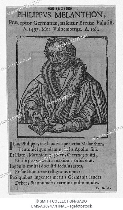 Wood cut portrait of Philip Melanchthon, a German reformer, collaborator with Martin Luther, the first systematic theologian of the Protestant Reformation