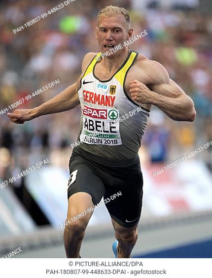 07.08.2018, Berlin: Track and Field: European Championships in the Olympic Stadium, Decathlon 100m, Men. Arthur Abele from Germany crosses the finish line