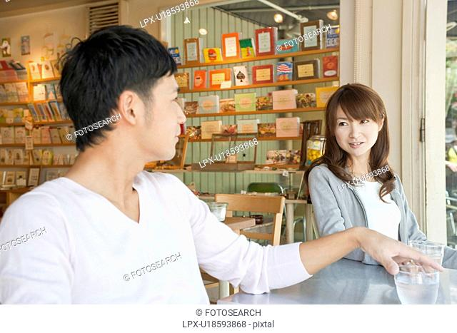 Young couple at a cafe