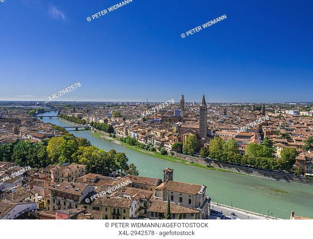 City view of Verona with the church of Santa Anastasia and Torre dei Lamberti, Veneto, Italy, Europe