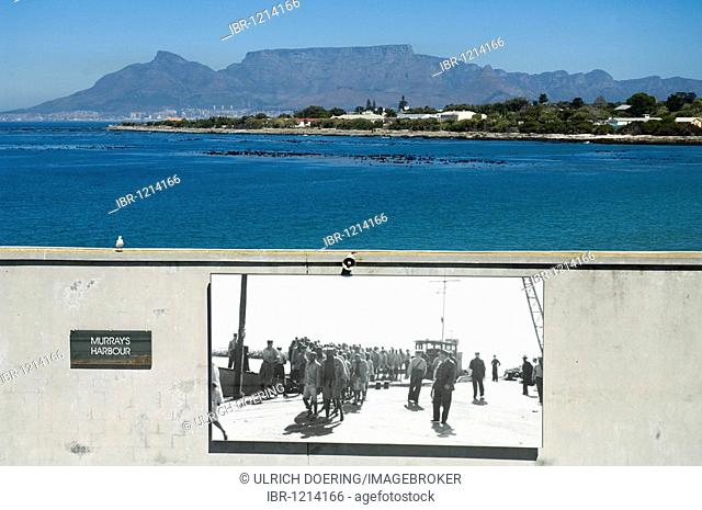 Historical photograph of prisoners arriving on Robben Island, Table Mountain in the back, Cape Town, South Africa