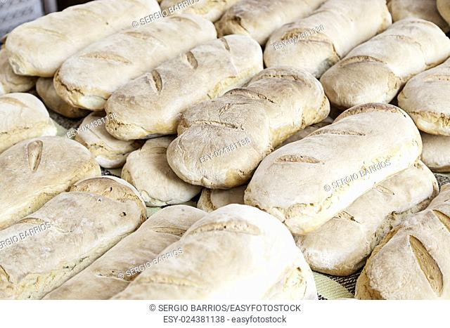 Artisan bread in a market, a product detail of daily food, food healthy lifestyle