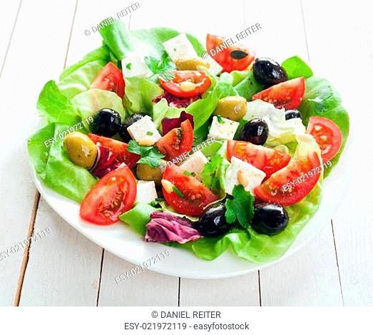 Fresh Mediterranean salad with feta cheese