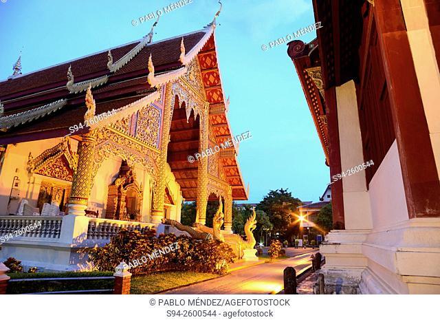 Wat Phra Singh at night in Chiang Mai, Thailand