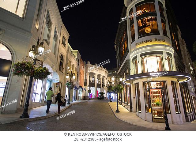 Two Rodeo at Night, Rodeo Drive, Beverly Hills, California, USA