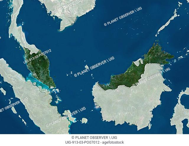 Satellite view of Malaysia (with country boundaries and mask). This image was compiled from data acquired by Landsat satellites