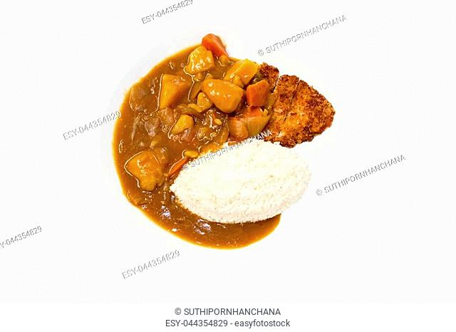 Japanese food, Rice with Pork Cutlet (Tonkatsu) and curry chicken on white background.Copy space./