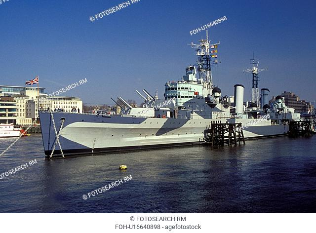 HMS Belfast, London, England, Great Britain, United Kingdom, Europe, H.M.S. Belfast Naval Battleship moored along the River Thames