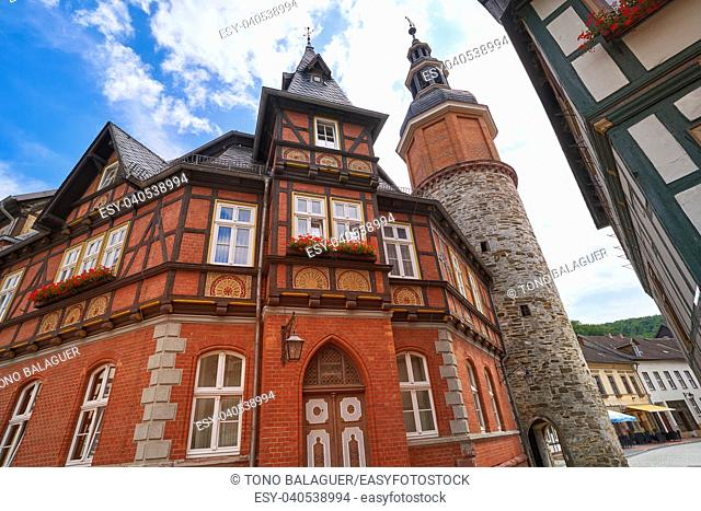 Stolberg facades and tower in Harz mountains of Germany