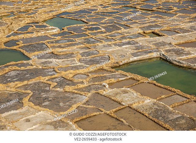 Malta. ancient salt pond near Marsalforn
