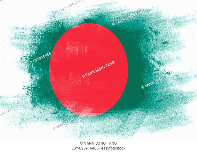 Flag of Bangladesh painted with brush on solid background